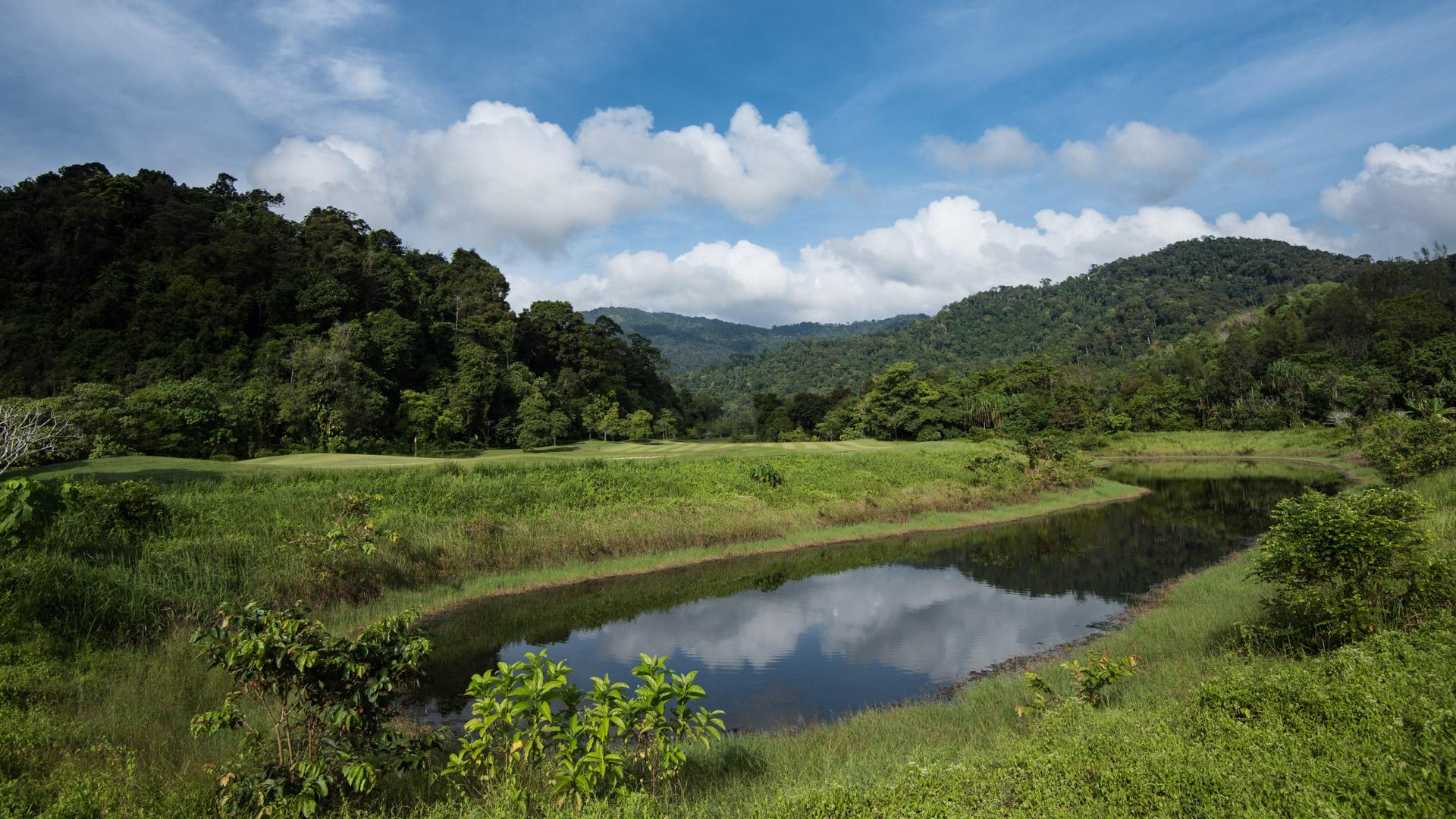 Fjortonde hålet på Gunung Raya Golf Club, med djungeln i bakgrunden.